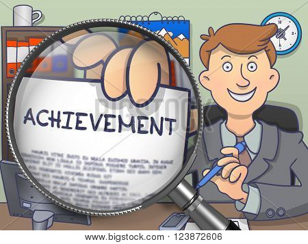 Achievement on Paper in Officeman's Hand through Magnifying Glass to Illustrate a Business Concept. Multicolor Modern Line Illustration in Doodle Style.