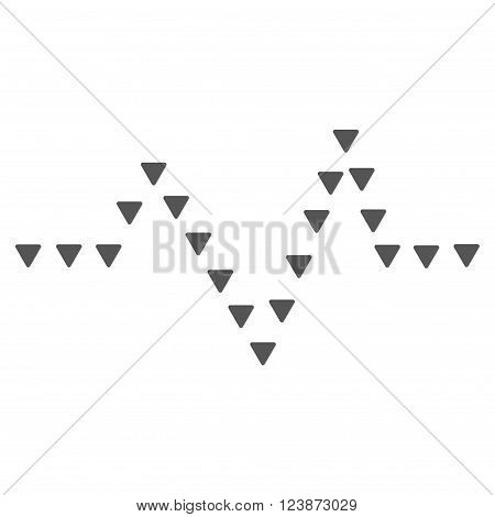 Dotted Pulse vector icon. Style is flat icon symbol gray color white background triangle dots.