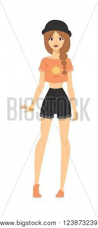 Fashion portrait of model posing outdoor in short shorts, t-shirt and hat stylish summer clothing outfit vector.