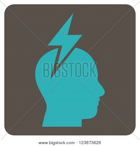 Headache vector icon. Image style is bicolor flat headache iconic symbol drawn on a rounded square with grey and cyan colors.