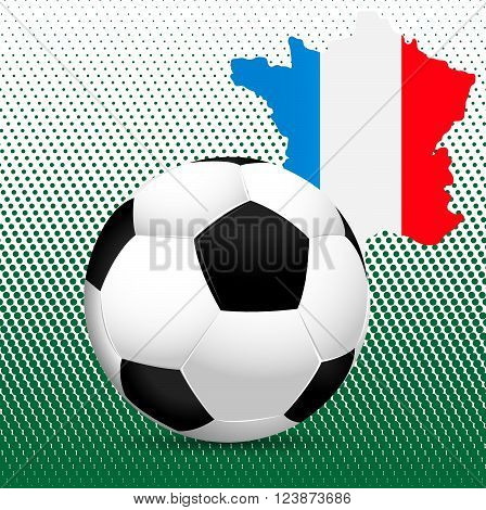 Football Euro 2016 European Championship.  France. Template with ball and the country's borders with flag colors.