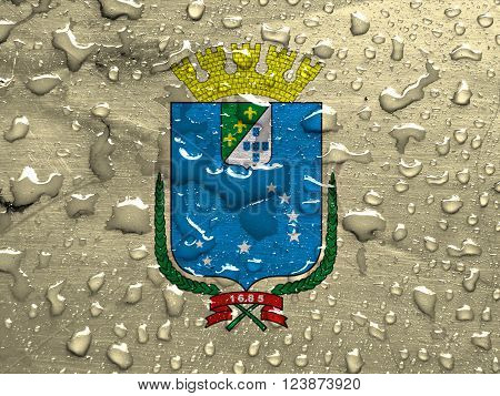 flag of Sao Luis with rain drops