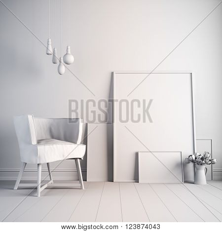 3d beautiful white interior render