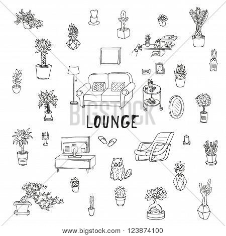 Living room. Lounge, relaxing place. Succulents and other houseplants. Doodle set. Isolated
