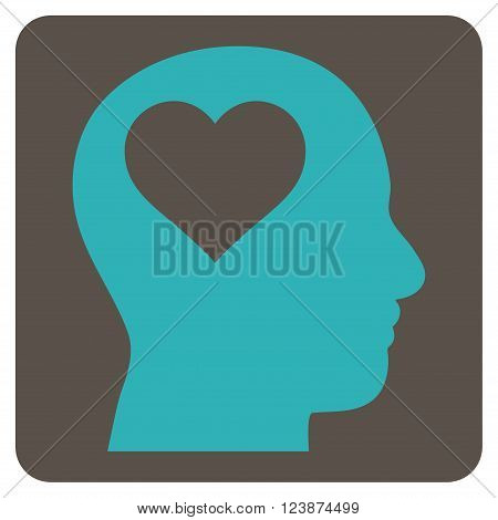 Lover Head vector icon symbol. Image style is bicolor flat lover head pictogram symbol drawn on a rounded square with grey and cyan colors.