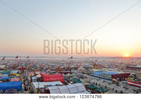 ALLAHABAD, INDIA - FEBRUARY 08, 2013: Aerial view of Maha Kumbh Mela festival camp, the world's largest religious gathering