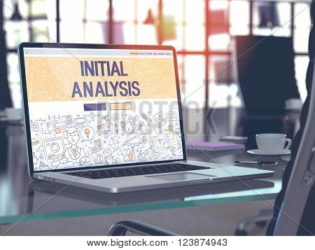 Modern Workplace with Laptop Showing Landing Page in Doodle Design Style with Text Initial Analysis. Toned Image with Selective Focus. 3D Render.