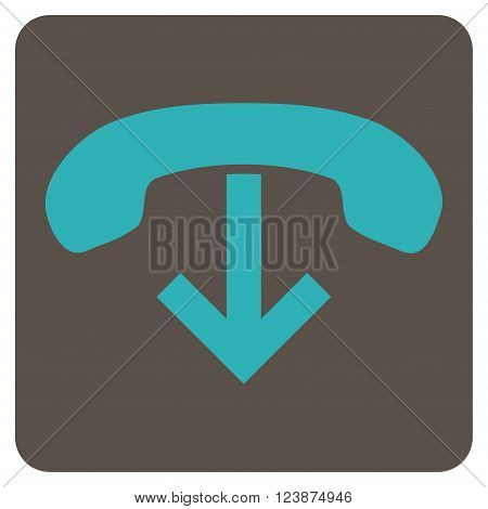 Phone Hang Up vector pictogram. Image style is bicolor flat phone hang up icon symbol drawn on a rounded square with grey and cyan colors.