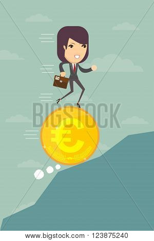 Business woman running on a coin with the euro symbol is optimistic ahead, vector illustration
