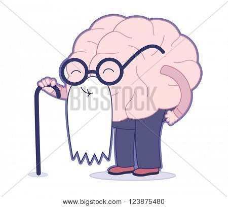 Age flat cartoon vector illustration - an old brain wearing round glasses and long white beard holding a stick. Part of a Brain collection.