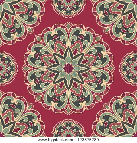 Seamless pattern of mandala on a burgundy background. Oriental ornament. Template for carpet shawl wallpaper embroidery.