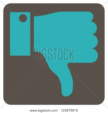 Thumb Down vector symbol. Image style is bicolor flat thumb down icon symbol drawn on a rounded square with grey and cyan colors.
