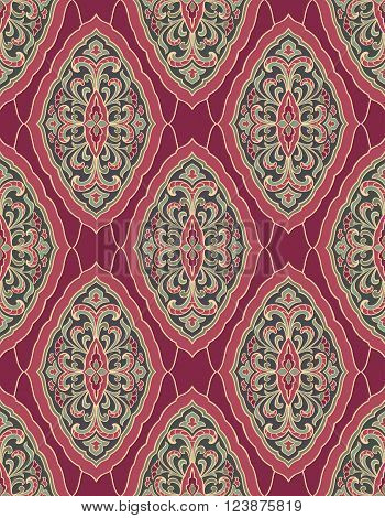 Oriental floral ornament. Templates for carpets wallpaper textiles and any surface. Seamless vector pattern in burgundy and pink tones.