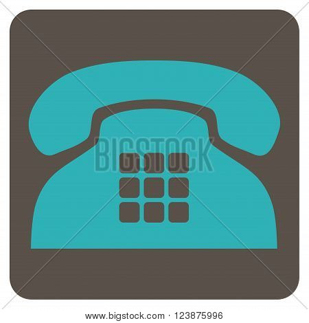 Tone Phone vector symbol. Image style is bicolor flat tone phone icon symbol drawn on a rounded square with grey and cyan colors.