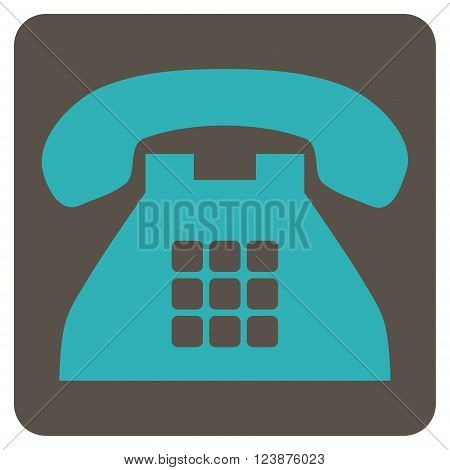 Tone Phone vector icon. Image style is bicolor flat tone phone iconic symbol drawn on a rounded square with grey and cyan colors.