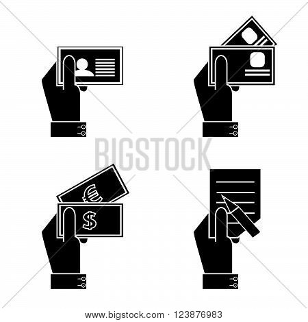 icon hand and document. A silhouette of hands with the passport, with credit cards, with money and the questionnaire on a white background