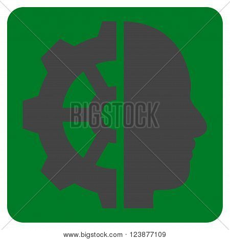 Cyborg Gear vector icon symbol. Image style is bicolor flat cyborg gear pictogram symbol drawn on a rounded square with green and gray colors.