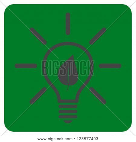 Eco Light Bulb vector icon. Image style is bicolor flat eco light bulb icon symbol drawn on a rounded square with green and gray colors.