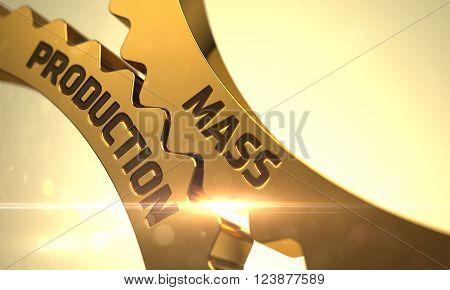 Mass Production Golden Metallic Cog Gears. Mass Production on the Mechanism of Golden Cogwheels with Lens Flare. Mass Production on Golden Gears. 3D Render.