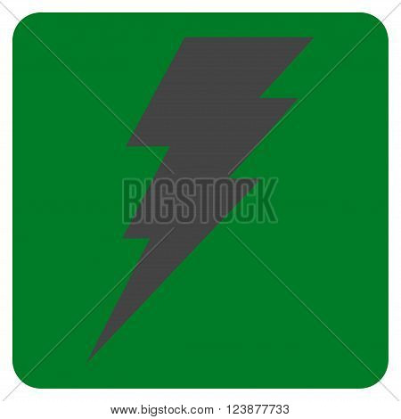Execute vector icon. Image style is bicolor flat execute iconic symbol drawn on a rounded square with green and gray colors.