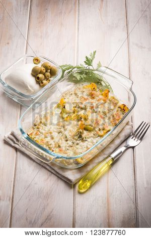lasagne with  capsicum mozzarella and green olives