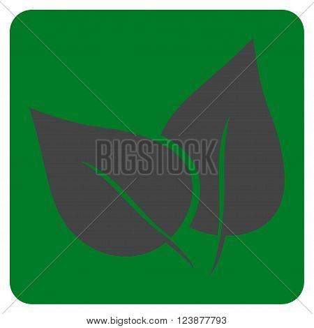 Flora Plant vector pictogram. Image style is bicolor flat flora plant iconic symbol drawn on a rounded square with green and gray colors.