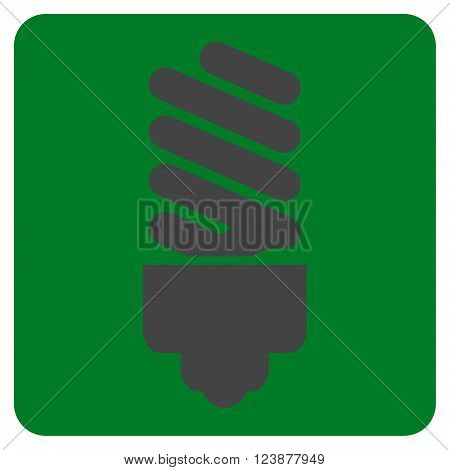 Fluorescent Bulb vector icon. Image style is bicolor flat fluorescent bulb iconic symbol drawn on a rounded square with green and gray colors.