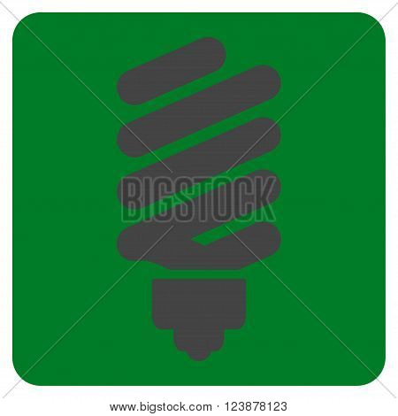 Fluorescent Bulb vector pictogram. Image style is bicolor flat fluorescent bulb icon symbol drawn on a rounded square with green and gray colors.