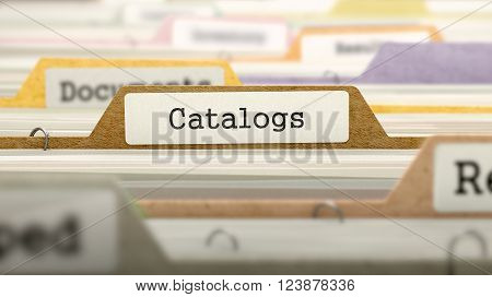 Catalogs - Folder Register Name in Directory. Colored, Blurred Image. Closeup View. 3D Render.