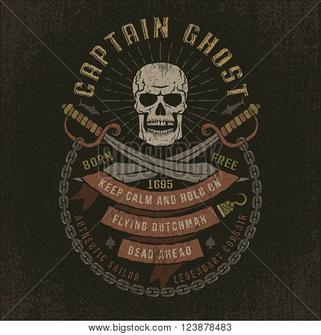 Emblem with a pirate skull in grunge style. Well suited to a T-shirt. Textures and text on separate layers.