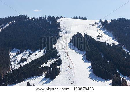 Ski area Dienten am Hochkonig austria Alps in winter