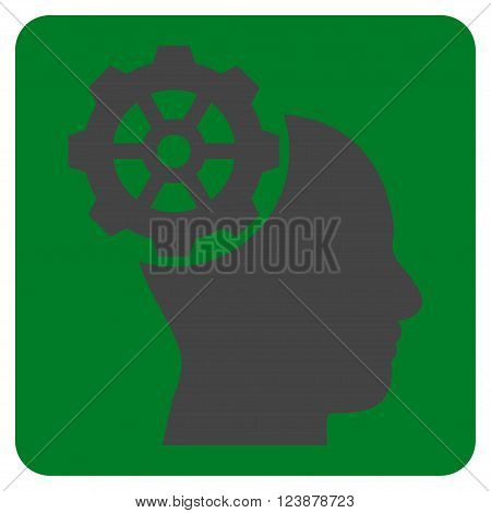 Head Gear vector symbol. Image style is bicolor flat head gear icon symbol drawn on a rounded square with green and gray colors.