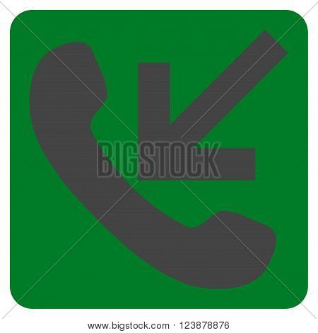 Incoming Call vector symbol. Image style is bicolor flat incoming call icon symbol drawn on a rounded square with green and gray colors.