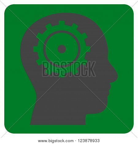 Intellect vector pictogram. Image style is bicolor flat intellect iconic symbol drawn on a rounded square with green and gray colors.