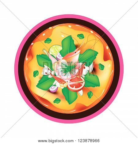 Thai Cuisine Tom Yum Goong or Thai Spicy and Sour Soup with Shrimps Mushroom Coconut Milk and Herbs. One of The Most Popular Thai Soup in The World.