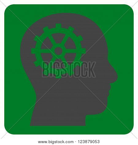 Intellect vector symbol. Image style is bicolor flat intellect pictogram symbol drawn on a rounded square with green and gray colors.
