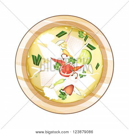 Thai Cuisine Chicken Tom Yum or Traditional Thai Spicy and Sour Soup with Chickens Mushroom Coconut Milk and Herbs. One of The Most Popular Dish in Thailand.