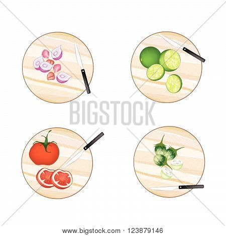 Vegetable and Herb Illustration of Shallot Onions Limes Tomatoes and Green Eggplant on Wooden Cutting Boards.