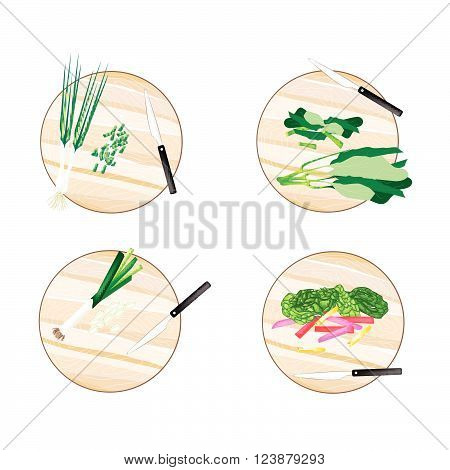 Vegetable Illustration of Chinese Kale Rainbow Swiss Chard Leek and Spring Onion on Wooden Cutting Boards.