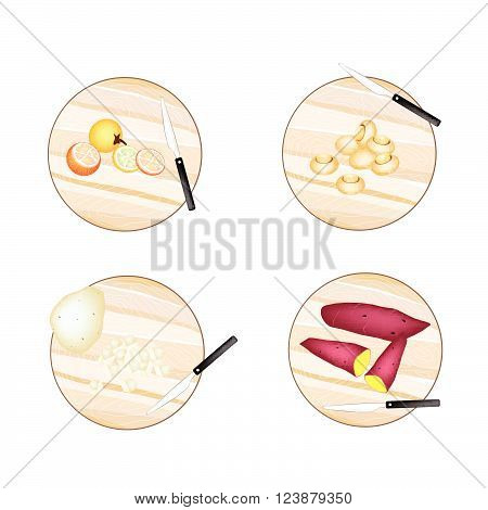 Vegetable, Illustration of Solanum Stramonifolium, Champignon Mushrooms, Potatoes and Sweet Potatoes on Wooden Cutting Boards.