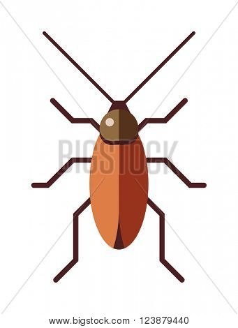 Cockroach dirty broun pest and disgusting roach crawling bug cartoon flat vector.