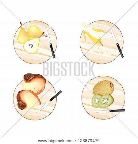 Fruit Illustration of Pears Banana Pumpkin and Kiwifruit on Cutting Board on Wooden Cutting Boards.