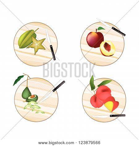 Fresh Fruit Avocado Carambola or Starfruit Peach Angel Peach on Wooden Cutting Boards.