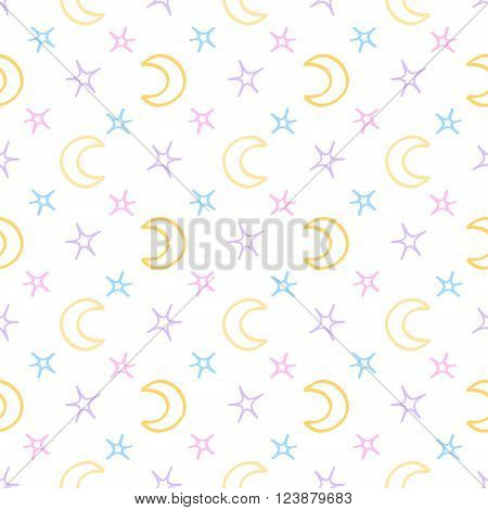 Seamless soft stars and moon baby night background. sweet dreams pattern