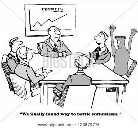 Business cartoon about learning to bottle enthusiasm.