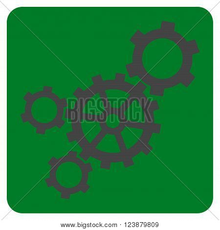 Mechanism vector icon. Image style is bicolor flat mechanism icon symbol drawn on a rounded square with green and gray colors.