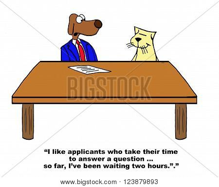 Business cartoon about answering a question in a job interview.