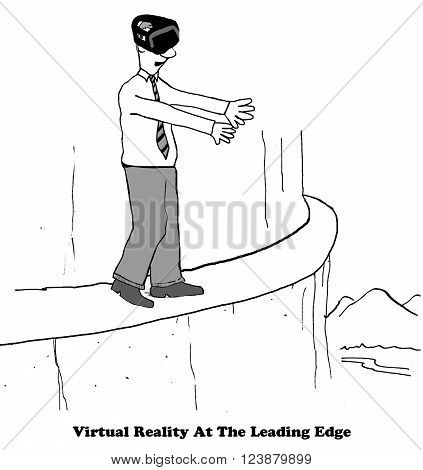 Technology cartoon about being on the leading edge with virtual reality.