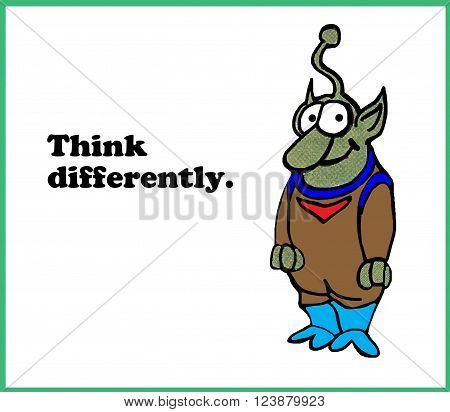 Business cartoon illustration encouraging people to 'think differently'.