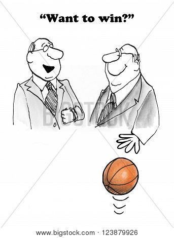 Business cartoon showing two businesspeople who want to win.